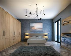 Tortona Natural Oak Shaker Matt Stone Grey Venice Bedroom