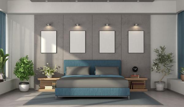 Modern master bedroom with spotlights